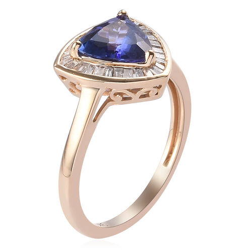 Limited Edition- 9K Yellow Gold AAA Tanzanite (Trl 8mm) and Diamond Ring 2.00 Ct.