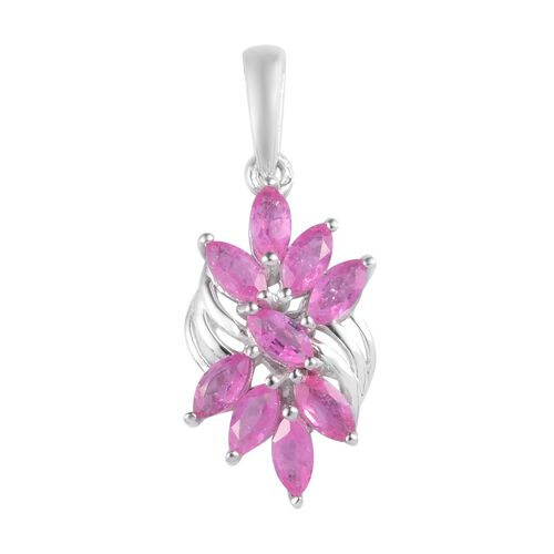Hot Pink Sapphire Pendant in Platinum Overlay Sterling Silver 2.00 Ct.