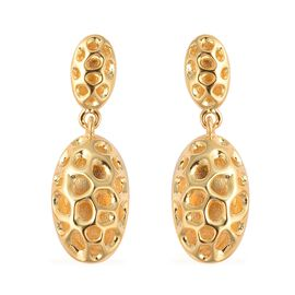 RACHEL GALLEY Yellow Gold Overlay Sterling Silver Pebble Lattice Drop Earrings (with Push Back), Sil