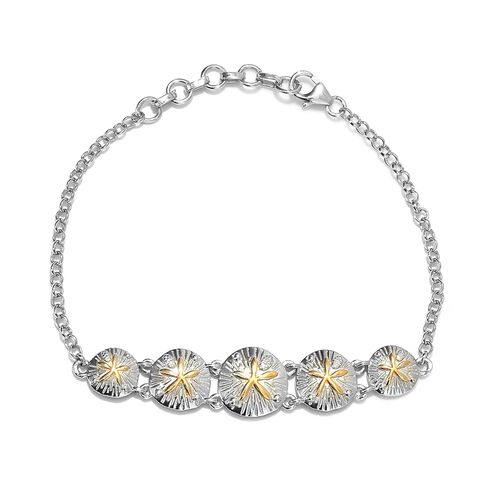Platinum and Yellow Gold Overlay Sterling Silver Starfish Bracelet (Size 6.25 with 1 inch Extender),