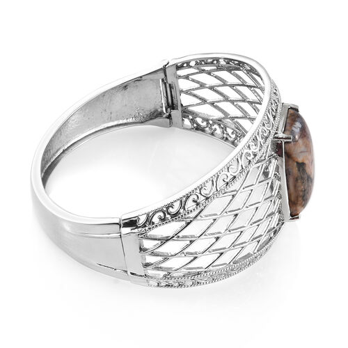 Venus Jasper (Cush 25x18 mm) Bangle (Size 7.75) in Stainless Steel 24.500 Ct.