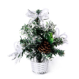 Mini Christmas Tree with Silver Bowknot (Size 23x6cm)
