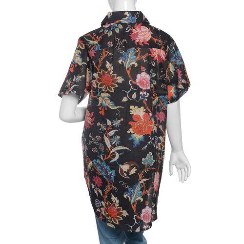 100% Cotton Black, Red and Multi Colour Flower and Leaves Pattern Apparel (Size 77x60 Cm)