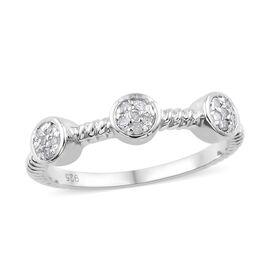 Diamond (Rnd) Ring in Platinum Overlay Sterling Silver