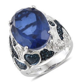 9.75 Ct Quartz and Blue and White Diamond Cocktail Ring in Platinum Plated Silver 7.57 Grams