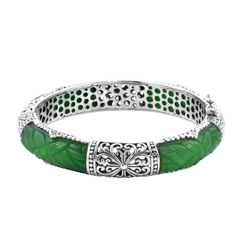 Royal Bali Collection - Carved Green Jade Bangle (Size 7.25) in Sterling Silver 95.23 Ct, Silver wt
