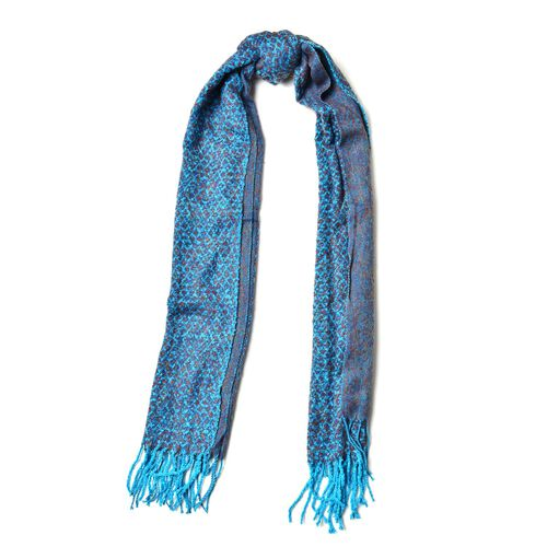 Designer Inspired-Blue and Orange Colour Scarf with Tassels (Size 180x60 Cm)