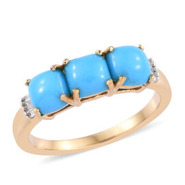 AA Arizona Sleeping Beauty Turquoise (Cush 5x5 mm), Diamond Ring in 14K Gold Overlay Sterling Silver
