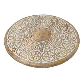 NAKKASHI - Saharanpur Collection - Hand Carved Lazy Susan Solid Wood Rotating Tray.Moon Shape