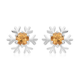 Brazilian Citrine (1.00 Ct) Platinum Overlay Sterling Silver Earring  1.000  Ct.