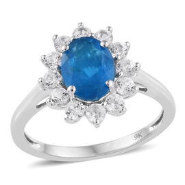 2 Carat AA Neon Apatite and Cambodian Zircon Halo Ring in 9K White Gold 1.9 Grams