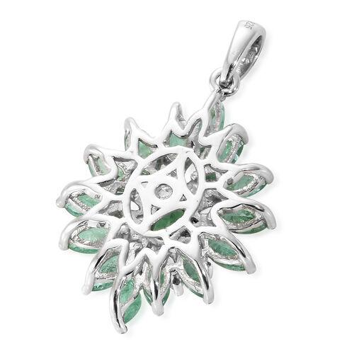 Kagem Zambian Emerald (Ovl and Mrq), White Topaz Pendant in Platinum Overlay Sterling Silver 3.250 Ct.