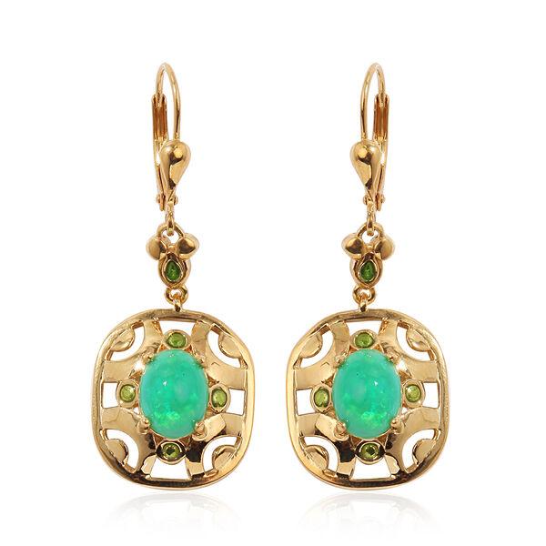 Green Ethiopian Opal Enamelled Lever Back Earrings in 14K Gold Overlay Sterling Silver 2.25 Ct, Silv