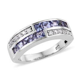 Tanzanite (0.90 Ct),Cambodian Zircon Platinum Overlay Sterling Silver Ring  1.000  Ct.