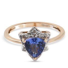 GP Italian Garden Collection 9K Yellow Gold  Tanzanite, Diamond and Kanchanaburi Blue Sapphire Ring