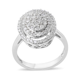 1 Ct Cluster Diamond Dome Ring in 9K White Gold SGL Certified I3 GH