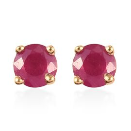 African Ruby Stud Earrings (with Push Back) in 14K Gold Overlay Sterling Silver 0.30 Ct.