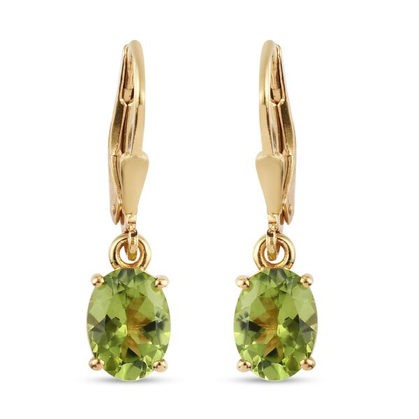 2.50 Ct Hebei Peridot Solitaire Drop Earrings in Gold Plated Sterling Silver