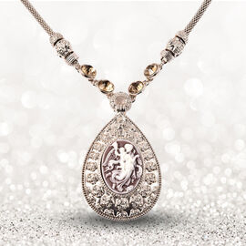 Simulated Champagne Diamond and Vintage Style Carved Cameo Necklace (Size 20 with 3 inch extender)