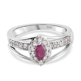 Burmese Ruby and Natural Cambodian Zircon Ring in Platinum Overlay Sterling Silver