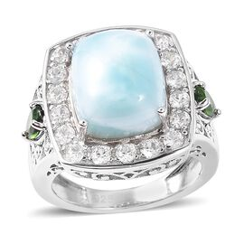 Larimar (Cush 12x10 mm), Natural White Cambodian Zircon and Russian Diopside Ring in Rhodium Overlay Sterling Silver 9.000 Ct.