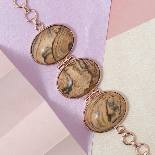 Picture Jasper Adjustable Bracelet (Size 7.5) in Rose Gold Tone 42.00 Ct.