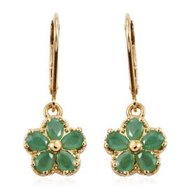 Kagem Zambian Emerald (Pear) Lever Back Floral Earrings in 14K Gold Overlay Sterling Silver 1.330 Ct