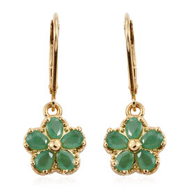 1.33 Ct Zambian Emerald Floral Earrings in Gold Plated Sterling Silver