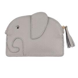SENCILLEZ 100% Genuine Leather Elephant Shaped Wallet (Size 14x11cm) - Light Grey