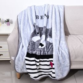 Double Layer Super Soft Flannel Blanket with Bear Pattern and Piping (Size 104x140 Cm) - Grey