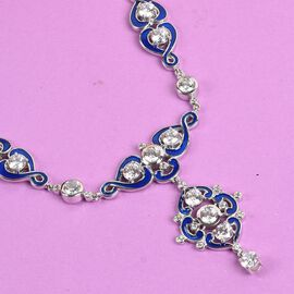 J Francis Platinum Overlay Sterling Silver Enamelled Neckalce (Size 18) Made with SWAROVSKI ZIRCONIA 19.02 Ct, Silver wt. 24.93 Gms