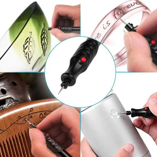 Battery Operated Handheld Black Engraving Pen 2xAAA Battery not included Size Details 8x20.5x2.2cm