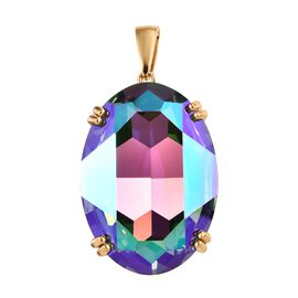 J Francis - Crystal From Swarovski Paradise Shine Crystal (Ovl) Pendant in 14K Gold Overlay Sterling