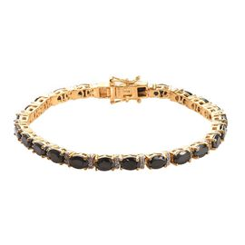GP Elite Shungite (Ovl), Natural Cambodian Zircon and Blue Sapphire Tennis Bracelet (Size 7) in 14K