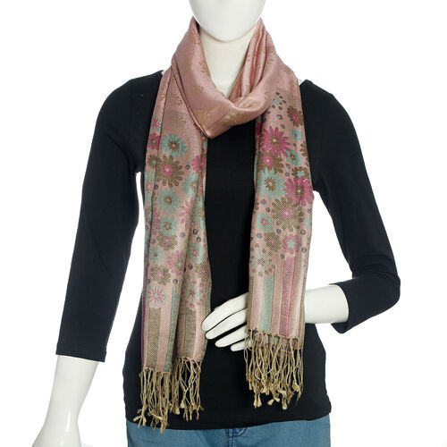 100% Silk Pink, Purple and Multi Colour Floral and Stripe Pattern Scarf (Size 190x70 Cm)