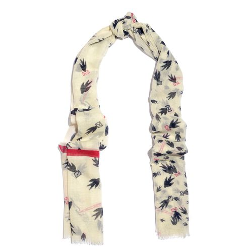 100% Merino Wool Black, White and Red Colour Birds with Envelope Printed Scarf (Size 190X75 Cm)
