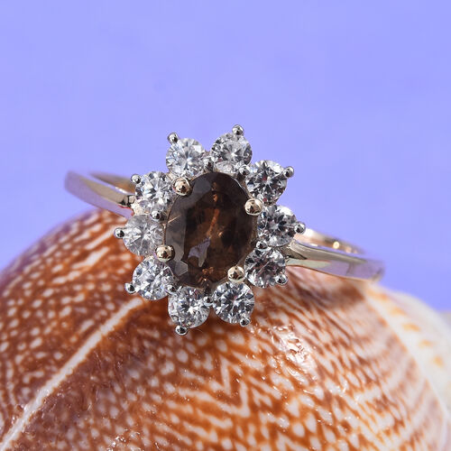 Tuscon Find- 9K Yellow Gold Change Colour Garnet (Ovl 7x5mm), Natural Cambodian Zircon Floral Ring 1.50 Ct.