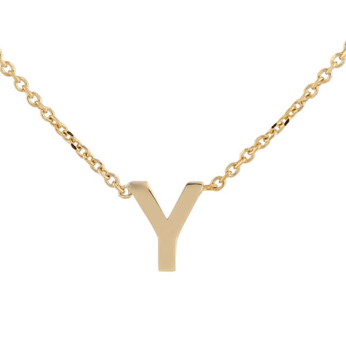 Hatton Garden Close Out - 9K Yellow Gold Initial Y Necklace (Size 15 with 2 Inch Extender)