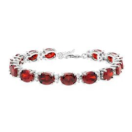 Simulated Garnet and Simulated Diamond Tennis Bracelet in Silver Plated 7 with 1 inch Extender