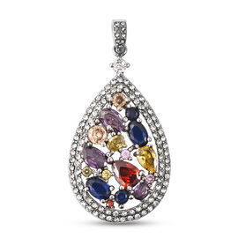 Simulated Multi Gemstone and White Austrian Crystal Pendant in Stainless Steel
