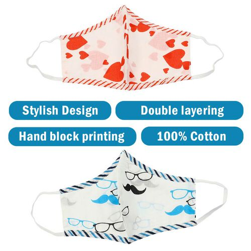Set of 2 - 100% Cotton Hand Block Printed Reusable Double Layer Face Cover (One Size Fits All) - Red and Blue
