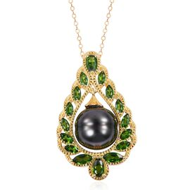 Limited Edition- Very Rare Tahitian Boroque Pearl and Russian Diopside Pendant with Chain in Yellow Gold Overlay Sterling Silver