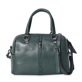 100% Genuine Leather Green Colour Tote Bag with Removable Shoulder Strap (Size 31x14x19 Cm)