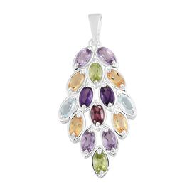 Guardian Angel Wing Rhodolite Garnet (Ovl), Rose De France Amethyst and Multi Gemstone Pendant in Sterling Silver 3.750 Ct.