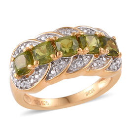 1.36 Ct Vesuvianite and Cambodian Zircon Men's Ring in Sterling Silver