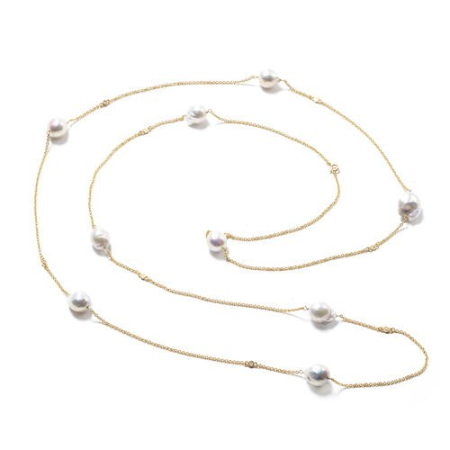 Isabella Liu Twilight Collection - Baroque Edison Pearl and Diamond Necklace (Size 60) in Yellow Gold Overlay Sterling Silver, Silver wt 13.56 Gms