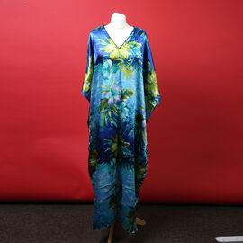 Winlar Tropical Print Multi Colour Long V-Neck Kaftan (One Size)