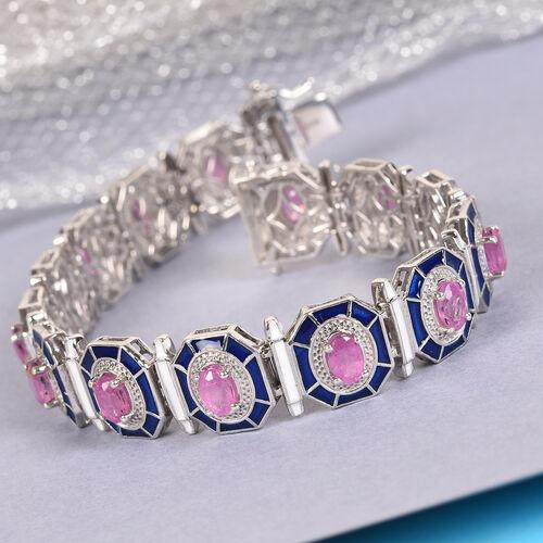 Madagascar Hot Pink Sapphire Enamelled Bracelet (Size 7.5) in Platinum Overlay Sterling Silver 9.00 Ct, Silver wt 25.00 Gms