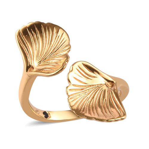 GP Blue Sapphire Leaf Design Bypass Ring in Gold Plated Sterling Silver