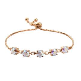 J Francis Swarovski AB Crystal From Swarovski 5 Stone Bracelet in Gold Tone